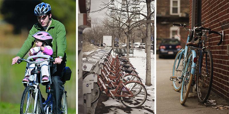 Vélos urbains et bicyclettes partagées